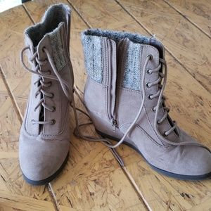 Kohls short suede wedge boots